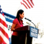 Hopes For Hearts Founder Veronica De La Cruz at a Rally in Los Angeles