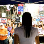 Hopes For Hearts Founder Veronica De La Cruz at a Rally in Times Square